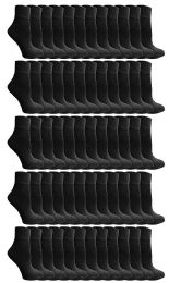 72 Units of Yacht & Smith Kids Cotton Quarter Ankle Socks In Black Size 4-6 - Boys Ankle Sock