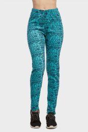 18 Units of Sofra Ladies Polar Fleece Legging In Turquoise Size L - Womens Leggings