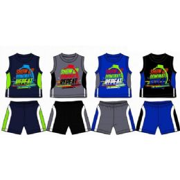 48 Units of Spring Boys Jersey Top With Close Mesh Short Sets Size Infant - Newborn Boys Apparel