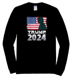 12 Wholesale Trump 2024 Usa Flag Long Sleeve Tshirts Black Plus Size
