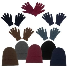 96 Units of Unisex Adult Winter Beanie, Gloves In 5 Assorted Colors - Winter Gear