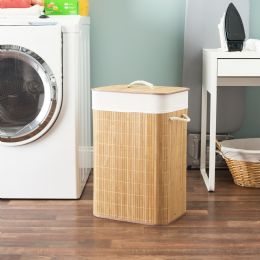6 Units of Home Basics Rectangular Bamboo Hamper, Natural - Laundry Baskets & Hampers