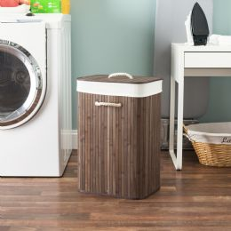6 Units of Home Basics Rectangular Bamboo Hamper, Brown - Laundry Baskets & Hampers