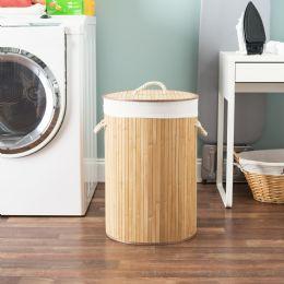 6 Units of Home Basics Round Foldable Bamboo Hamper, Natural - Laundry Baskets & Hampers