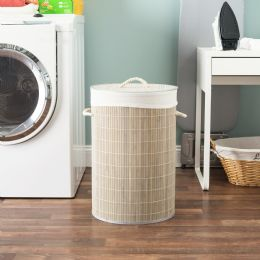 6 Units of Home Basics Round Bamboo Hamper, Grey - Laundry Baskets & Hampers