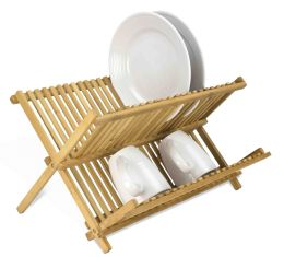 12 Units of Home Basics Bamboo Foldable Dish Drainer - Dish Drying Racks