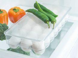 12 Units of Home Basics 21 Egg Plastic Holder With Lid, Plastic - Kitchen & Dining
