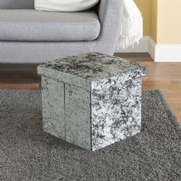 5 Units of Home Basics Tufted Velvet Storage Ottoman, Grey - Furniture