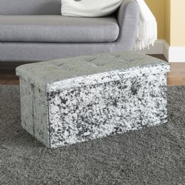 5 Units of Home Basics Tufted Velvet Storage Ottoman Bench, Grey - Furniture