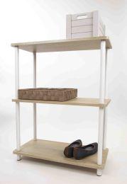3 Units of Home Basics Pine Wood 3 Tier Rectangular Corner Shelf, Natural - Furniture
