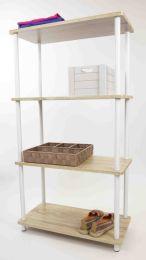 3 Units of Home Basics Pine Wood 4 Tier Rectangular Corner Shelf, Natural - Furniture