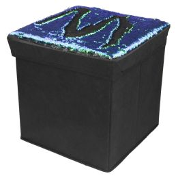 "6 Units of Home Basics 15"" Reversible Sequin Storage Ottoman, Mermaid Black - Furniture"