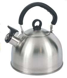 12 Units of Home Basics 2.2 Liter Brushed Stainless Steel Tea Kettle With Riveted Easy Grip Handle, Silver - Kitchen Gear