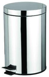 4 Units of Home Basics 12 Liter Polished Stainless Steel Round Waste Bin, Silver - Waste Basket