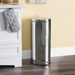 2 Units of Home Basics 30 Liter Polished Stainless Steel Round Waste Bin, Silver - Waste Basket