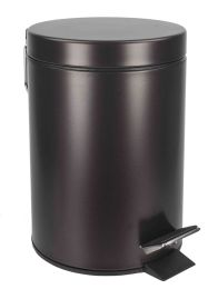 6 Units of Home Basics 3 Liter Steel Step Waste Bin, Bronze - Waste Basket