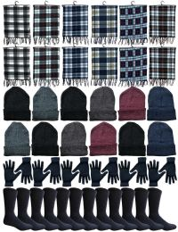 240 Units of Winter Bundle Care Kit For Men, 4 Piece - Hats Gloves Beanie Fleece Scarf Set In Assorted Colors - Winter Care Sets
