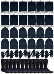 240 Bulk Winter Bundle Care Kit For Men, 4 Piece - Hats Gloves Beanie Fleece Scarf Set In Solid Black