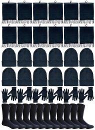 240 Bulk Winter Bundle Care Kit For Woman, 4 Piece - Hats Gloves Beanie Fleece Scarf Set In Solid Black