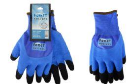 24 Wholesale Winter Work Gloves Blue In Size XLarge