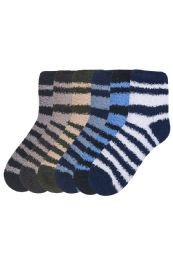 120 Units of Mens Striped Plush Soft Socks Size 10-13 - Men's Fuzzy Socks