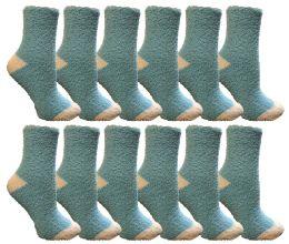 12 Units of Yacht & Smith Women's Fuzzy Snuggle Socks , Size 9-11 Comfort Socks Blue With White Heel And Toe - Womens Fuzzy Socks