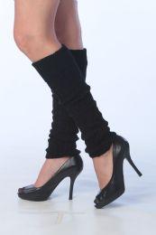 60 Units of Womens Thick Heavy Legwarmers In Solid Black - Arm & Leg Warmers