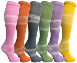 6 Bulk Yacht & Smith 6 Pairs Girls Tie Dye Knee High Socks, Anti Microbial, Soft Touch, Kids