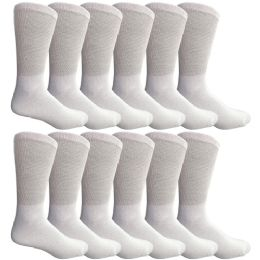 12 Units of Yacht & Smith Men's Loose Fit NoN-Binding Soft Cotton Diabetic Crew Socks Size 10-13 White - Men's Diabetic Socks