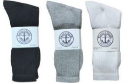 360 Units of Yacht & Smith Kid's Cotton Crew Socks Set Assorted Colors Black, White Gray Size 6-8 - Sock Care Sets