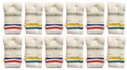 72 Units of Yacht & Smith Kids Cotton Tube Socks White With Stripes Size 4-6 - Boys Crew Sock