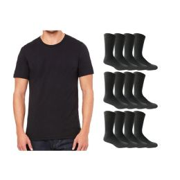 120 Units of Yacht & Smith Men's Cotton Crew Socks Size 10-13 And Black Solid T-Shirt Size Medium - Men's Socks for Homeless and Charity