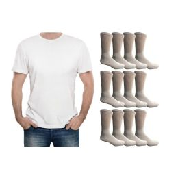 120 Units of Yacht & Smith Men's White Cotton Crew Socks Size 10-13 And White Solid T-Shirt Size Large - Men's Socks for Homeless and Charity