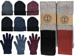 144 Bulk Yacht & Smith Mens 3 Piece Winter Set , Thermal Tube Socks Gloves And Beanie Hat
