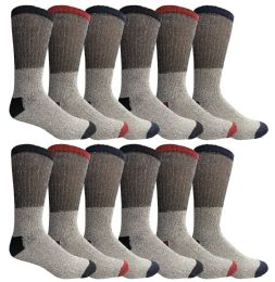24 Units of Yacht & Smith Mens Warm Cotton Thermal Socks, Sock Size 10-13 - Mens Thermal Sock