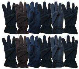144 Bulk Yacht & Smith Mens Double Layer Heavy Fleece Gloves Packed Assorted Colors Bulk Buy