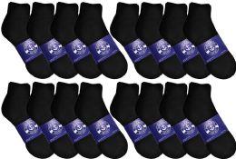 48 Bulk Yacht & Smith Mens Lightweight Cotton Quarter Ankle Socks In Bulk, Black Size 10-13