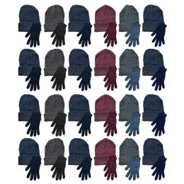 144 Bulk Yacht & Smith Mens Warm Winter Hats And Glove Set Assorted Colors 144 Pieces
