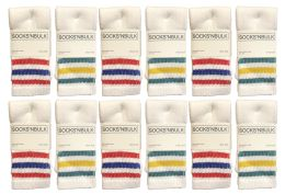 48 Units of Yacht & Smith Kids Cotton Tube Socks Size 6-8 White With Stripes - Boys Crew Sock