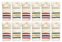 24 Units of Yacht & Smith Kids Cotton Tube Socks Size 6-8 White With Stripes - Boys Crew Sock