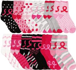 48 Units of Women's Breast Cancer Awareness Fuzzy Socks, Assorted Size 9-11 - Breast Cancer Awareness Socks