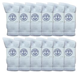 240 Units of Yacht & Smith Women's Cotton Crew Socks White Size 9-11 Bulk Buy - Women's Socks for Homeless and Charity