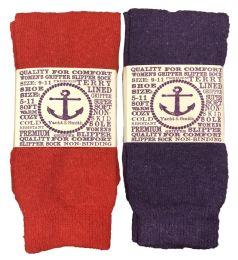 12 Bulk Yacht & Smith Women's Thermal NoN-Slip Tube Socks, Gripper Bottom Socks