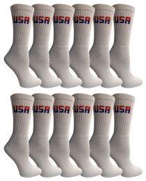 240 Units of Yacht & Smith Women's Usa American Flag Crew Socks, Size 9-11 White Bulk Buy - Women's Socks for Homeless and Charity