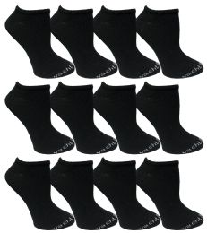480 Units of Yacht & Smith Womens 97% Cotton Low Cut No Show Loafer Socks Size 9-11 Solid Black Bulk Buy - Women's Socks for Homeless and Charity
