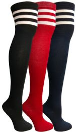 3 of Yacht&smith Womens Over The Knee Socks, 3 Pairs Soft, Chic Colorful Patterned (3 Pairs Retro Striped (red, Navy, Black))
