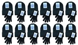 480 Bulk Yacht & Smith Womens Warm Winter Sets 240 Pairs Of Gloves And 240 Hats Solid Black
