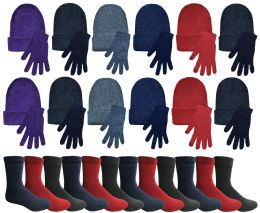 72 Units of Yacht & Smith Womens Warm Winter Sets Hat, Gloves And Thermal Socks - Winter Care Sets
