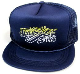 """48 Wholesale Youth Mesh Back Printed Hat, """"jesus Saves"""", Assorted Colors"""