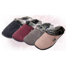 Wholesale Footwear Fake Suede With Faux Fur Trim Women's Slippers